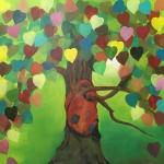 Schilderij 1x1m, Boom en hart