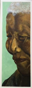 Schilderij Nelson Mandela, acryl op doek, 80x30cm